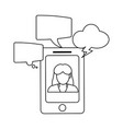 smartphone business chat in black and white vector image vector image