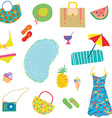 Summer funny pattern for woman with accessories vector image