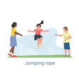 three happy young children playing with a skipping vector image vector image