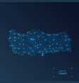 turkey map with cities luminous dots - neon vector image vector image