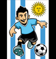 Uruguay soccer player with flag background vector image vector image