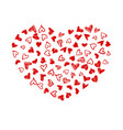 valentines day card with hand drawn doodle hearts vector image vector image