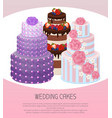 wedding cakes poster text vector image vector image