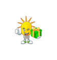 with gift lamp yellow with cartoon character shape vector image vector image