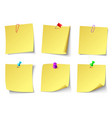 yellow paper notes top view note sticker vector image