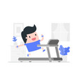 young man running on a treadmill at home vector image vector image