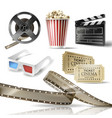 cinema set of 3d realistic objects vector image