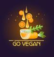 go vegan card cartoon style carrot drops glass vector image