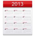 Red Calendar 2013 vector image