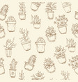 cute hand drawn seamless pattern with cactus vector image
