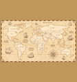 antique world map with countries boundaries vector image vector image