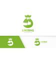 bag and like logo combination sack and vector image vector image