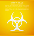 biohazard symbol flat icon on yellow background vector image vector image
