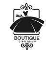 boutique black logo label with dress on white vector image