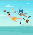 businessman relaxing he is flying on vacation vector image