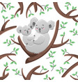 cartoon koalas among the leaves and vector image vector image