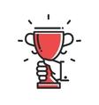 Champion cup award single icon vector image