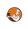 Chef Cook Holding Serving Bowl Circle Retro vector image vector image
