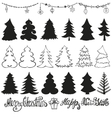 Christmas tree silhouettesLetteringBlack vector image