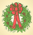 Christmas wreath with mistletoe vector image