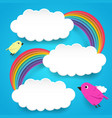clouds and rainbow with cute birds vector image vector image