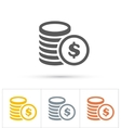 Coins Icons Gold silver copper vector image