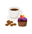 cup coffee with coffee beans and cupcake vector image