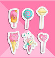 cute funny girl teenager colored icon sticker set vector image vector image