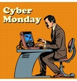 Cyber Monday computer and human vector image vector image