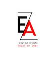 ea logo letter separated a black zigzag line vector image vector image