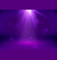 empty purple studio and spotlight bright shiny vector image vector image
