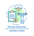 fitness instructor concept icon gym coach trainer vector image vector image
