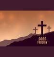 good friday background with three cross symbols vector image vector image