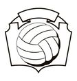 gray scale emblem with volleyball ball vector image vector image