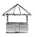 grunge straw hut nature architecture style vector image