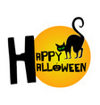 happy halloween with black cat background vector image