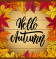 hello autumn wooden background with autumn leaves vector image
