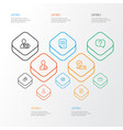 job icons line style set with resume contract vector image