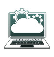 laptop with cloud computing blue lines vector image vector image