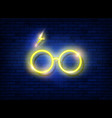 neon sign icon a round glasses harry potter vector image