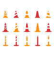 orange and red color traffic cone icons set vector image