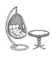pendant chair engraving vector image