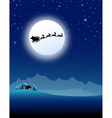 Santa sleigh on Mountain in Christmas Night vector image vector image