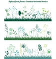 Seamless horizontal borders with stylized growing vector image vector image