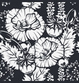 seamless pattern with poppy flowers for dark vector image