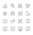 search engine optimization line icons set on white vector image vector image