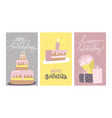 set birthday greeting cards design with hand vector image vector image