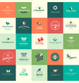 set flat design animals and nature icons vector image vector image