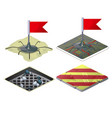 set of checkpoints with red flags isolated on vector image