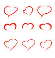 set of scribbled hearts grunge style icons vector image vector image